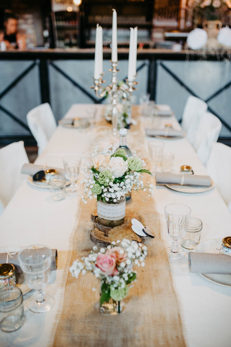 Tischdeko bei Karls Erdbeerhof. Die Deko war für eine Hochzeit.